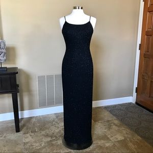 Black Sequence Spag Strap Evening Gown by Jump